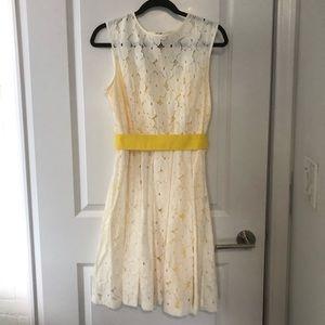White & yellow lace eyelet dress